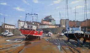 tenby wales oil painting harbour boats