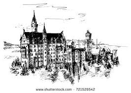 architectural drawings of famous buildings. Tracing Of The Drawing By Hand, Famous Building Neuschwanstein Castle, Fuessen, Germany Architectural Drawings Buildings
