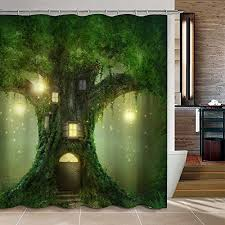 unique shower curtains. Uphome Big Tree House In The Light Bathroom Shower Curtain - Green And Yellow Waterproof Polyester Fabric Ideas (72\ Unique Curtains L
