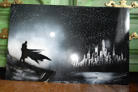 items similar to bat man poster spray paint art new york skyline in black colors on