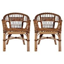 Tidyard <b>Outdoor Chairs 2 pcs</b> Natural Rattan Garden Armchairs ...