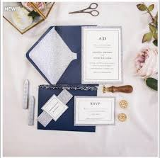 Us 120 7 Glitter Silver Navy Blue Envelope Glitter Printed Insert Paper Glitter Rsvp Card Bow Wax Strips Seal Customized Invitation Card In Cards