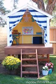 this playhouse is actually a treehouse it isn t as extensive as you might think a treehouse to be though instead it has a base that it is built on and a