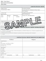 Template Daily Construction Report Template