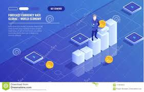 Ex Currency Chart Forecast Currency Rate Businessman Stay On Graphic Chart