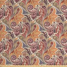 Persian Design Fabric Ambesonne Floral Fabric By The Yard Traditional Paisley Leaf Pattern With Persian Details Colorful Boho Design Decorative Fabric For Upholstery And