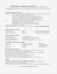 Examples Of Actors Resumes Resume With The Accent Fresh Sample Actors Resume At