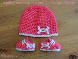 Crochet Newborn Hat Pattern Awesome Sporty Newborn Hat And Bootie Set Pattern