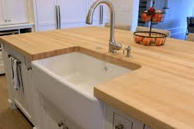 hard maple butcher block island top with farmhouse sink