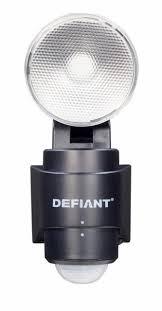 defiant 180 black led motion sensing battery power outdoor flood light