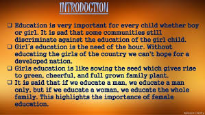 importance of educating girl child in