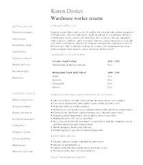 Warehouse Worker Sample Resume Interesting Resume Cover Letter Examples Warehouse Worker Of Resumes Skills Best