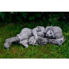 cat garden statue. Girl And Cat Garden Statue R