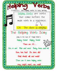 Helping Verbs Anchor Chart Mini Lesson Verb Song