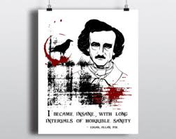 edgar allan poe quote vinyl wall decal i became insane edgar allan poe instant print i became insane long intervals of horrible sanity