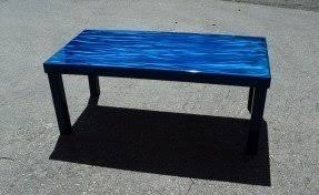 Lucite Coffee Table With Deep Blue Murano Glass Nickel Plated Brass Base  Blue Accent Table