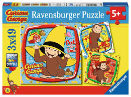 curious george and friends 3x49pc jigsaw puzzle by ravensburger new