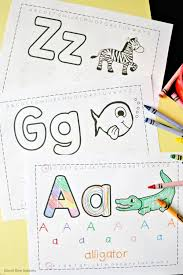 Print all alphabet worksheets and work with your preschooler. Free Trace Color Alphabet Printables School Time Snippets