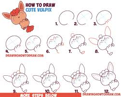 how to draw a cute kawaii chibi vulpix from pokemon in easy step by step drawing