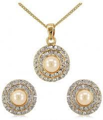 dolly jewels pretty pearl design gold colour pendant set