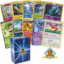 Amazon.com: 30 Assorted Pokemon Cards - 1 Eevee Card, 3 Eeveelution Cards,  1 EX or Full-Art Ultra Rare, 7 Reverse Holographics, 3 Rare Holographics,  and 15 Commons/Uncommons - Golden Groundhog Deck Storage Box: Toys & Games