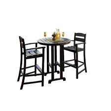 outdoor bar table and chairs. Classics Black 3-Piece Plastic Outdoor Patio Bar Set Table And Chairs L
