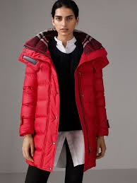 Quilted Jackets & Puffers for Women | Burberry United Kingdom & Down-filled Puffer Coat With Detachable Hood in Parade Red Adamdwight.com
