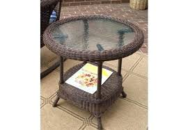 white wicker end tables round resin table antique brown coffee with glass top