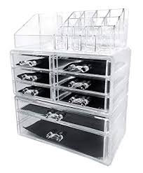 amazon sodynee acrylic makeup cosmetic organizer storage drawers display bo case three pieces set home kitchen
