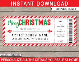 Printable Christmas Gift Concert Ticket Template Christmas Present