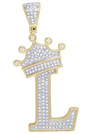 image is loading 10k yellow gold genuine diamond crown letter initial