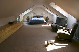 beige attic room with skylights