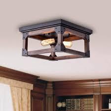 insider wood flush mount ceiling light new larissa black industrial square 2