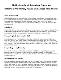 Sample Lesson Plans Format Sample Middle And Secondary Unit Plan Format