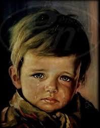 haunted crying boy painting