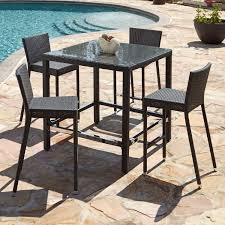 5 Piece Bar Table Set Michio Resin Wicker Outdoor 5 Piece Bar Table And Chair Set Outdoor