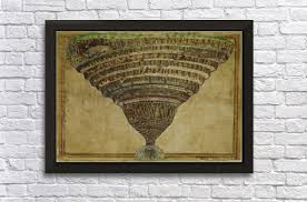 Botticelli Chart Of Hell High Resolution Map Of The Inferno Sandro Botticelli Canvas Artwork