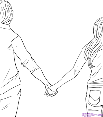 how to draw people holding hands step 5