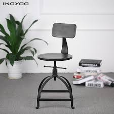 industrial style office chair. IKayaa Industrial Style Metal Bar Stool Adjustable Height Black Swivel With Backrest Furniture Office Chair I