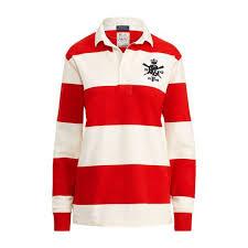 ralph lauren monogram cotton rugby shirt red 103294931