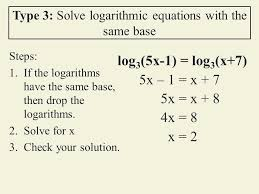 type 3 solve logarithmic equations with the same base