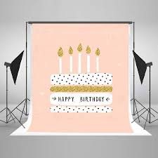 Greendecor Polyester Fabric 5x7ft Pink Birthday Background Summer Photography Background Cloth