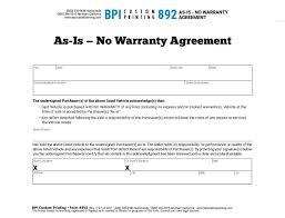 As Is No Warranty Agreement Bpi Dealer Supplies