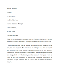 Best Ideas Of Sample Transfer Request Letter 5 Documents In Pdf Word