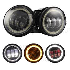 Fog Lights For Sale Us 69 0 Hot Sale 2pcs Black 4 5 30w Led Fog Lights With Red Evil Eye And Amber Turn Signal Angel Eyes For Motorcycle On Aliexpress
