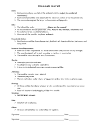 Sample Roommate Contract Roommate Contract Sample In Word And Pdf Formats