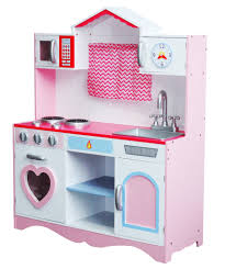 large girls kids pink wooden play kitchen children's role play