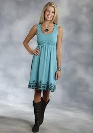 Roper Women S Turquoise Racer Back Jersey Western Dress