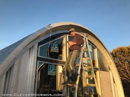 House led lighting Wall As It Turns Out At The Front Of The Building The Outer Edge Of The Arch Panel Forms Perfectly Angled Surface To Stick The Led Strip Onto Ylighting Quonset Hut House Exterior Led Lighting Clever Moderns Quonset Hut