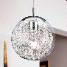 glass globe pendant lighting. Kitchen Pendants - The Luberio Glass Globe Pendant Light Is Filled With An Aluminium Nest. Lighting